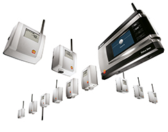 The testo Saveris 1 wireless data logger records and transmits all temperature data to a central GoMedical email address.